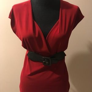 Deep red buckle waist top